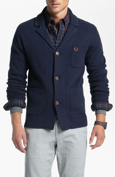 Fred Perry Jacket Cardigan in Blue for Men (blue granite)