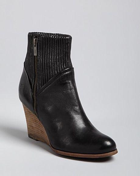 frye wedge booties corby in black lyst
