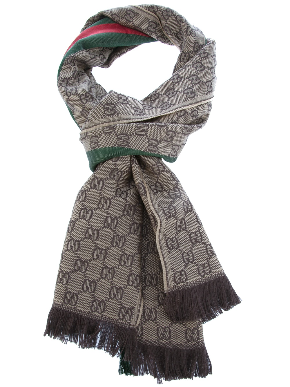 gucci logo embellished scarf in brown for lyst