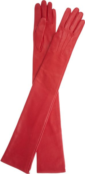 Lanvin Long Leather Gloves in Red | Lyst