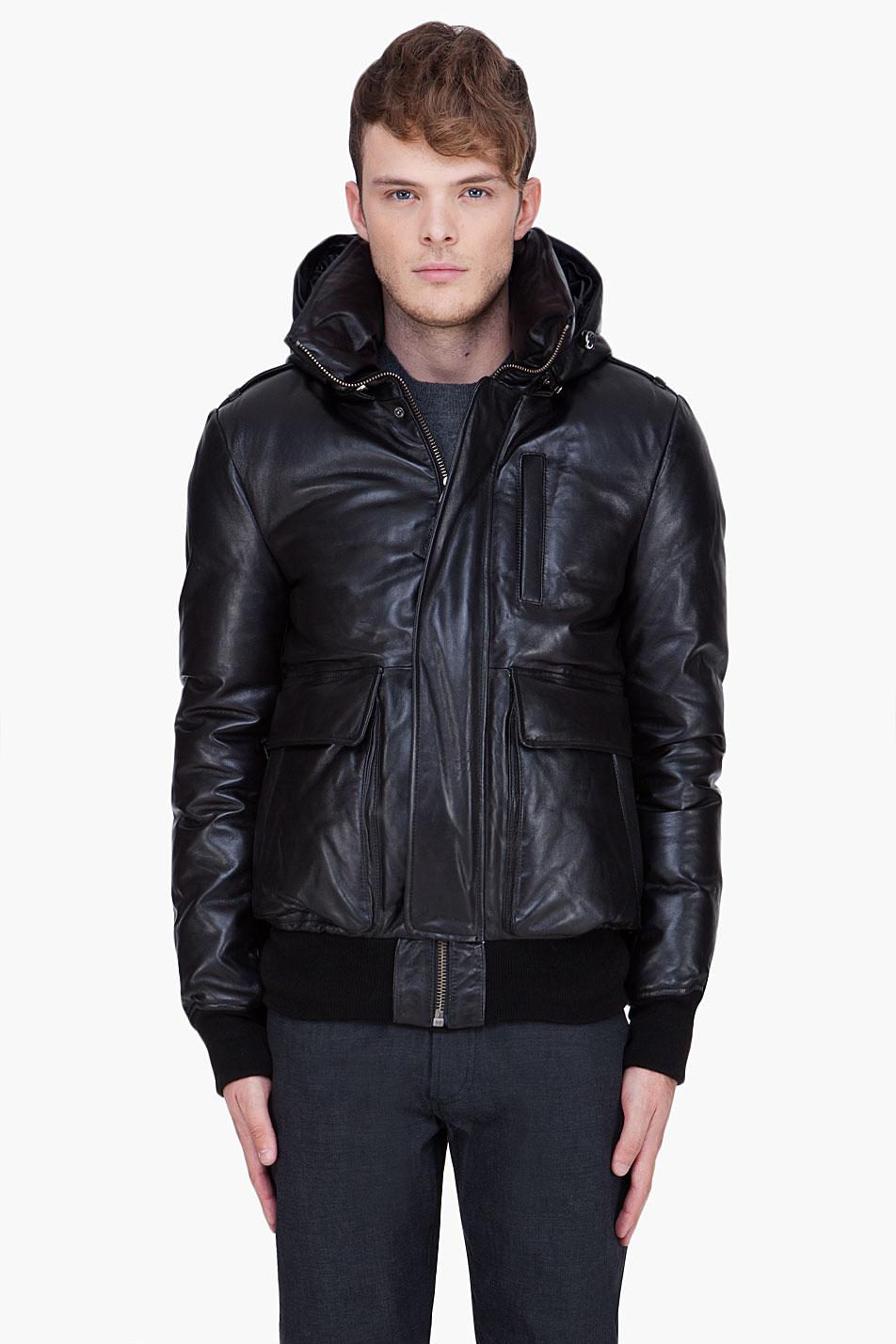 Mackage Leather Raccoon Fur Hood Shanu Jacket In Black For