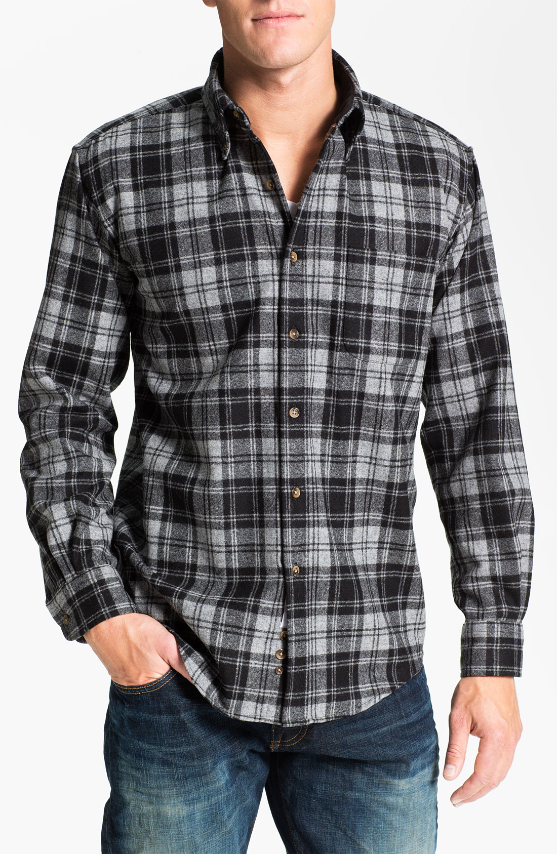 pendleton fireside wool plaid flannel shirt in gray for