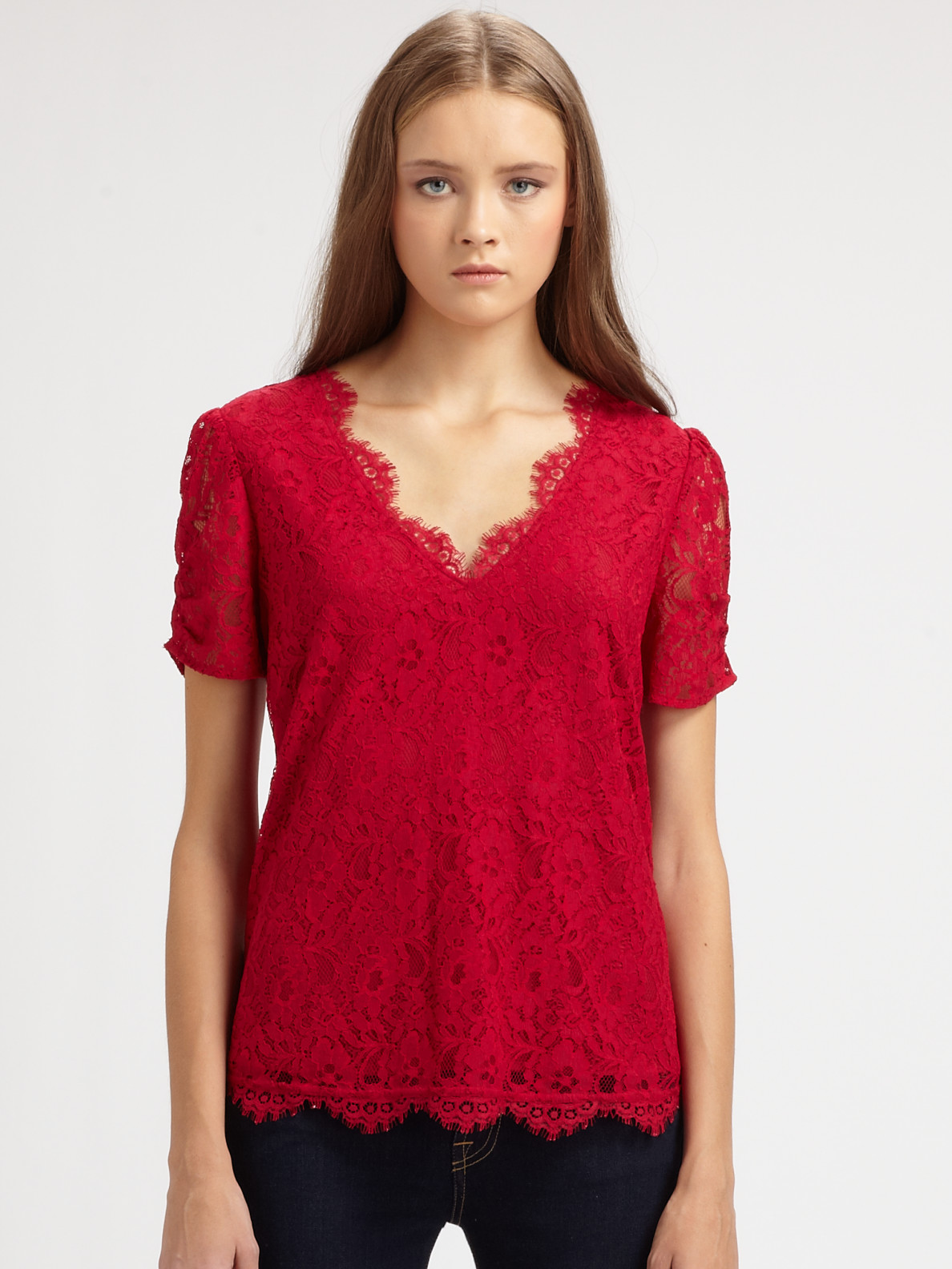Joie Brianda Lace Top in Red | Lyst