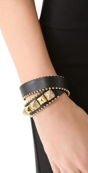 Juicy Couture Heavy Metal Skinny Leather Wrap Bracelet In