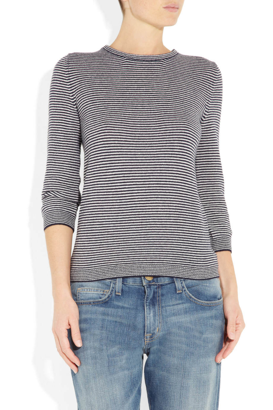 marc by marc jacobs sonia striped cashmere sweater in gray lyst. Black Bedroom Furniture Sets. Home Design Ideas