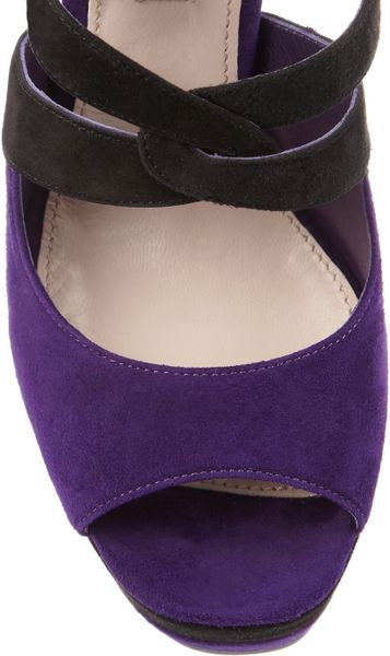 Miu Miu Suede Platform Sandals In Purple Lyst
