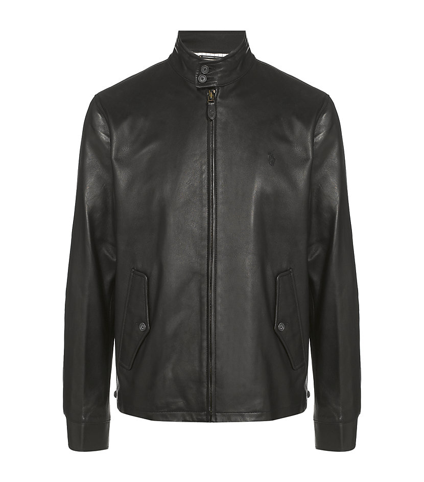 Polo black leather jacket