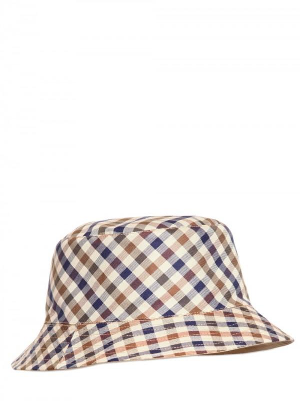 Aquascutum Reversible Check Hat In Natural For Men Lyst