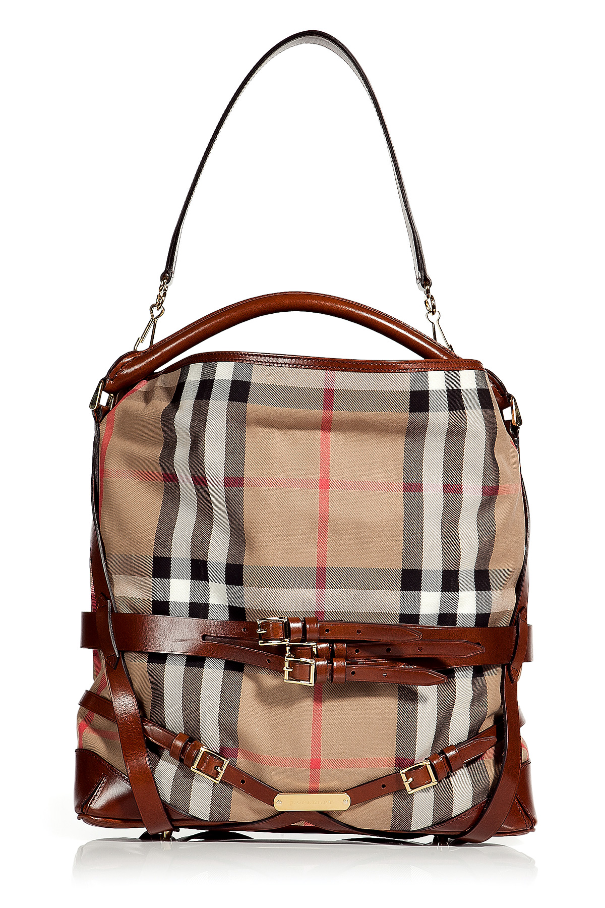 67c492ac4ea0 Lyst Burberry Dark Tan Bridle House Check Medium Gosford Hobo In Brown