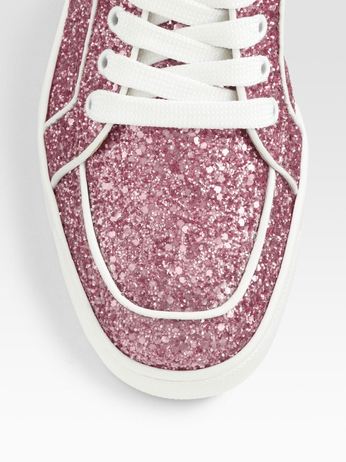 christian louboutin pink glitter shoes