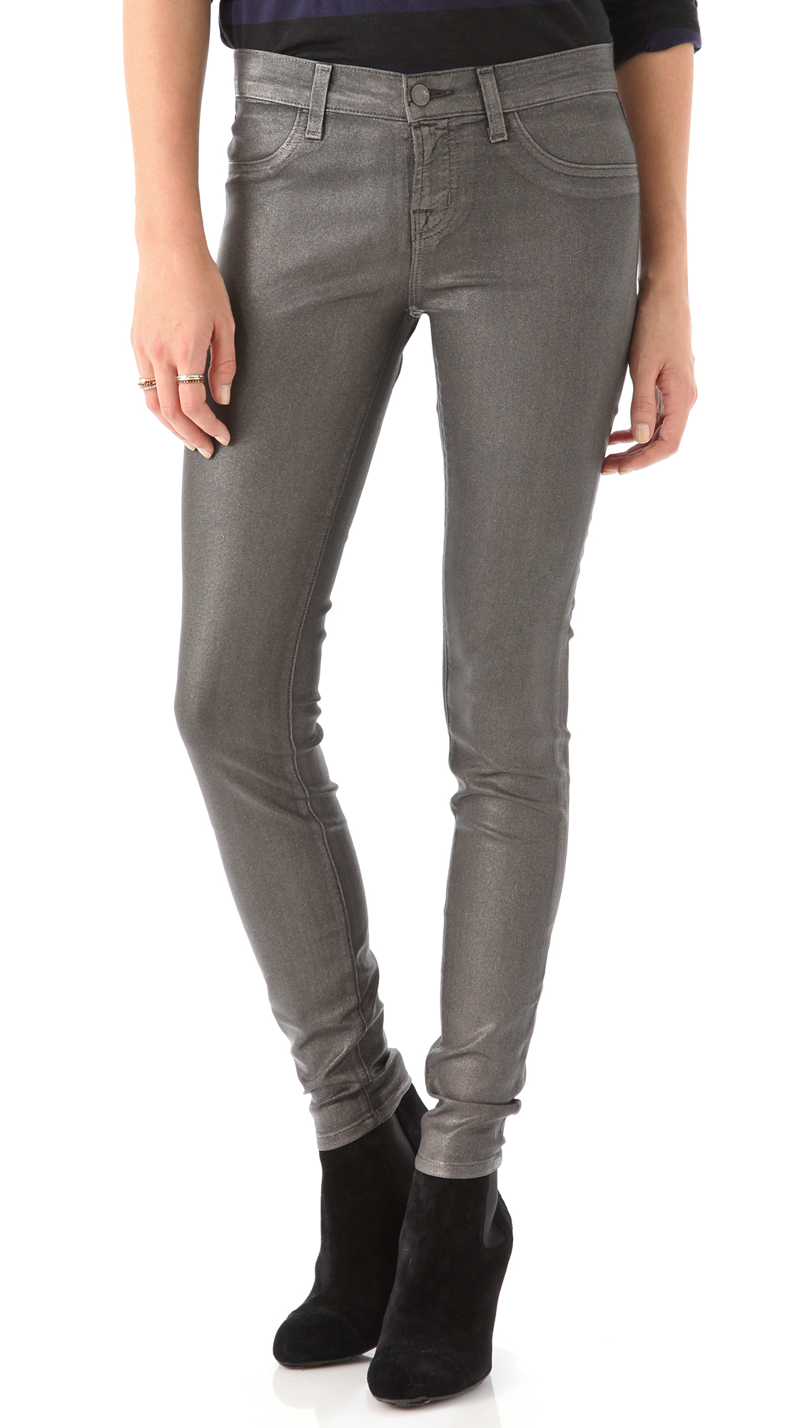 J Brand 901 Super Skinny Coated Jeans In Gray Lyst