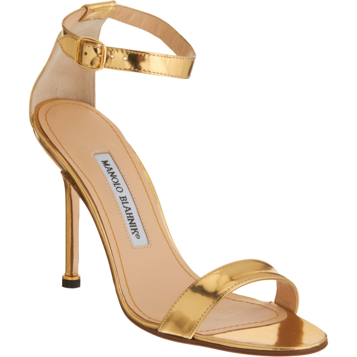 Manolo Blahnik Women S Chaos Ankle Strap Sandals In Gold