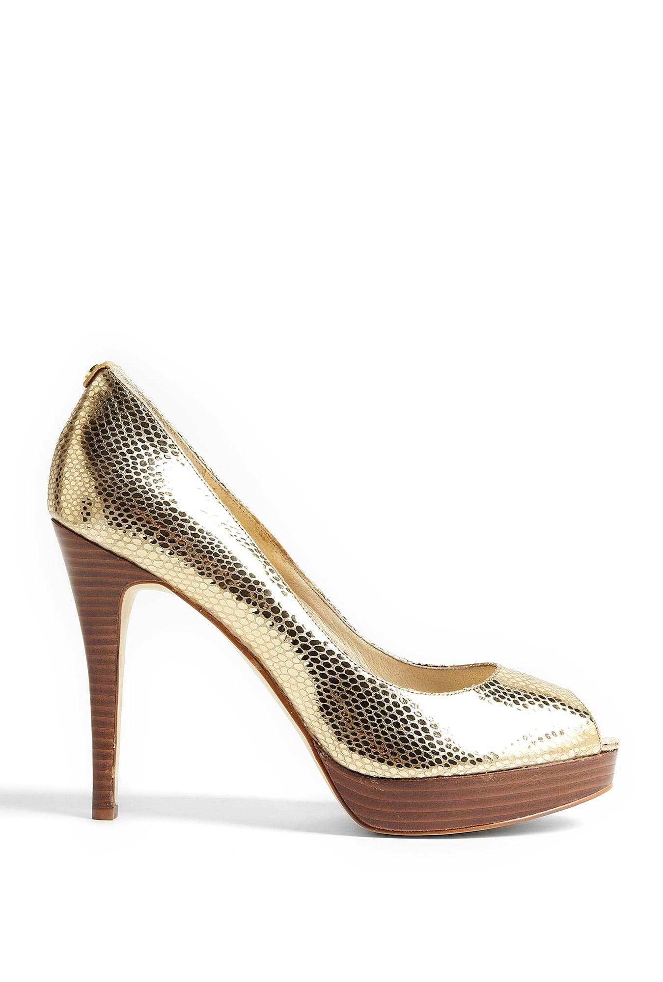 michael michael kors pale gold york platform peeptoe court shoes in gold lyst. Black Bedroom Furniture Sets. Home Design Ideas