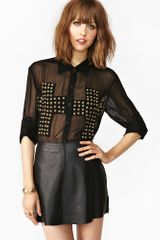 Nasty Gal Studded Cross Blouse