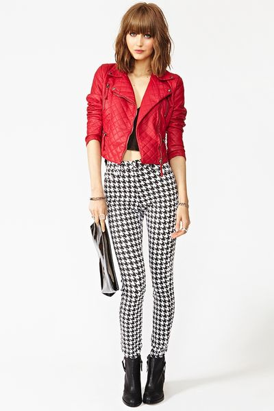 Nasty Gal Quilted Biker Jacket In Red Lyst