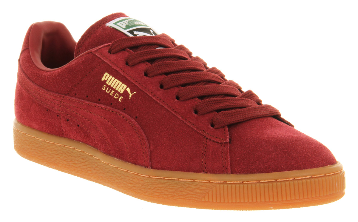new style f6afd f5b62 PUMA Suede Classic Burgundy Gum Gold in Red for Men - Lyst