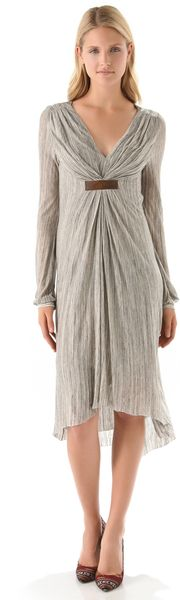 Twelfth Street Cynthia Vincent Gathered Empire Dress in Gray