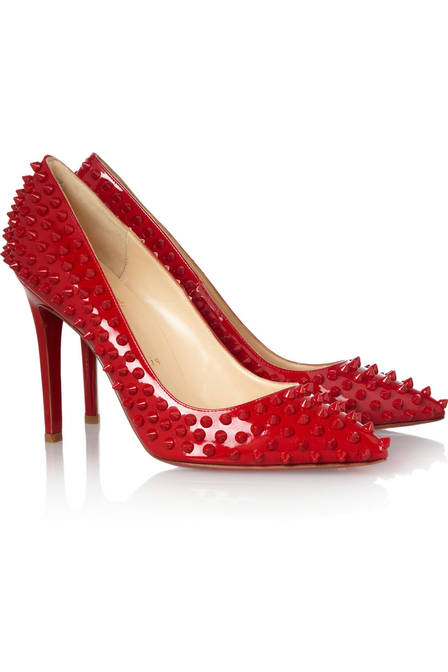 ff5c8dd63451 Lyst - Christian Louboutin Pigalle 100 Spiked Patentleather Pumps in Red