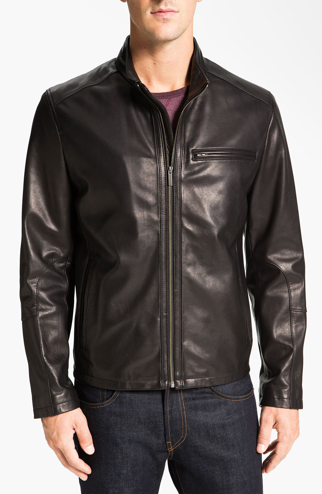 Cole Haan Leather Moto Jacket In Black For Men Save 60