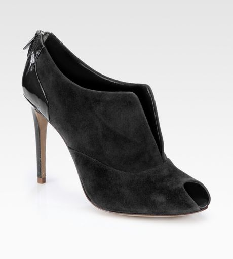 elie tahari orla suede patent leather ankle boots in black