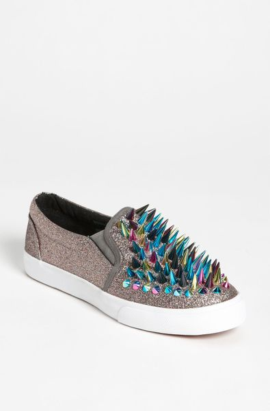 Jeffrey Campbell The Scrape Sneaker in Pewter Glitter and Multi Spikes in Multicolor (pewter glitter multi) - Lyst