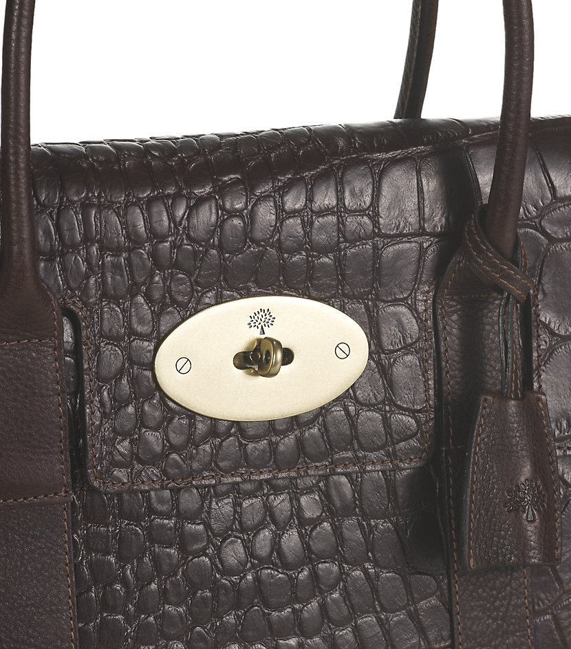 7e8fc9589b5f Mulberry Chocolate Printed Leather Bayswater Bag in Brown - Lyst