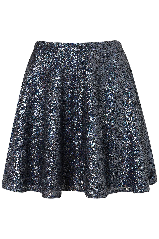 Topshop Blue Sequin Skater Full Skirt in Blue | Lyst