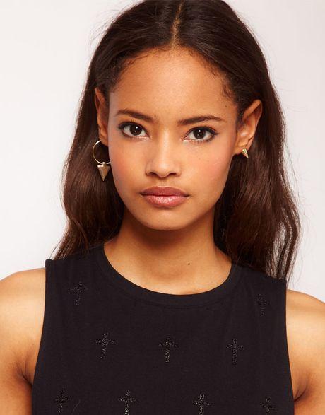 Hoop Earrings With Studs Stud Arrow Hoop Earrings
