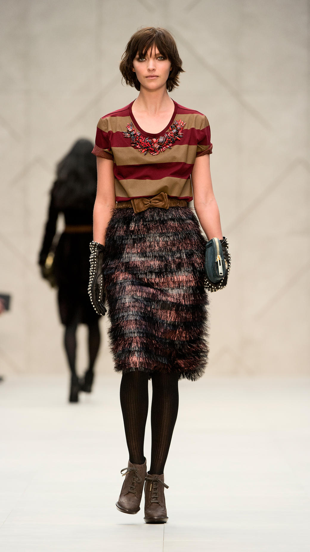 Burberry Prorsum Runway London Fashion Week Aw14: Burberry Prorsum Embroidered Cotton Stripe Tshirt