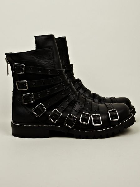 gareth pugh mens low biker buckles boots in black for