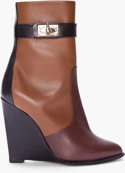 Givenchy Brown Tricolor Sharklock Wedge Boots in Brown