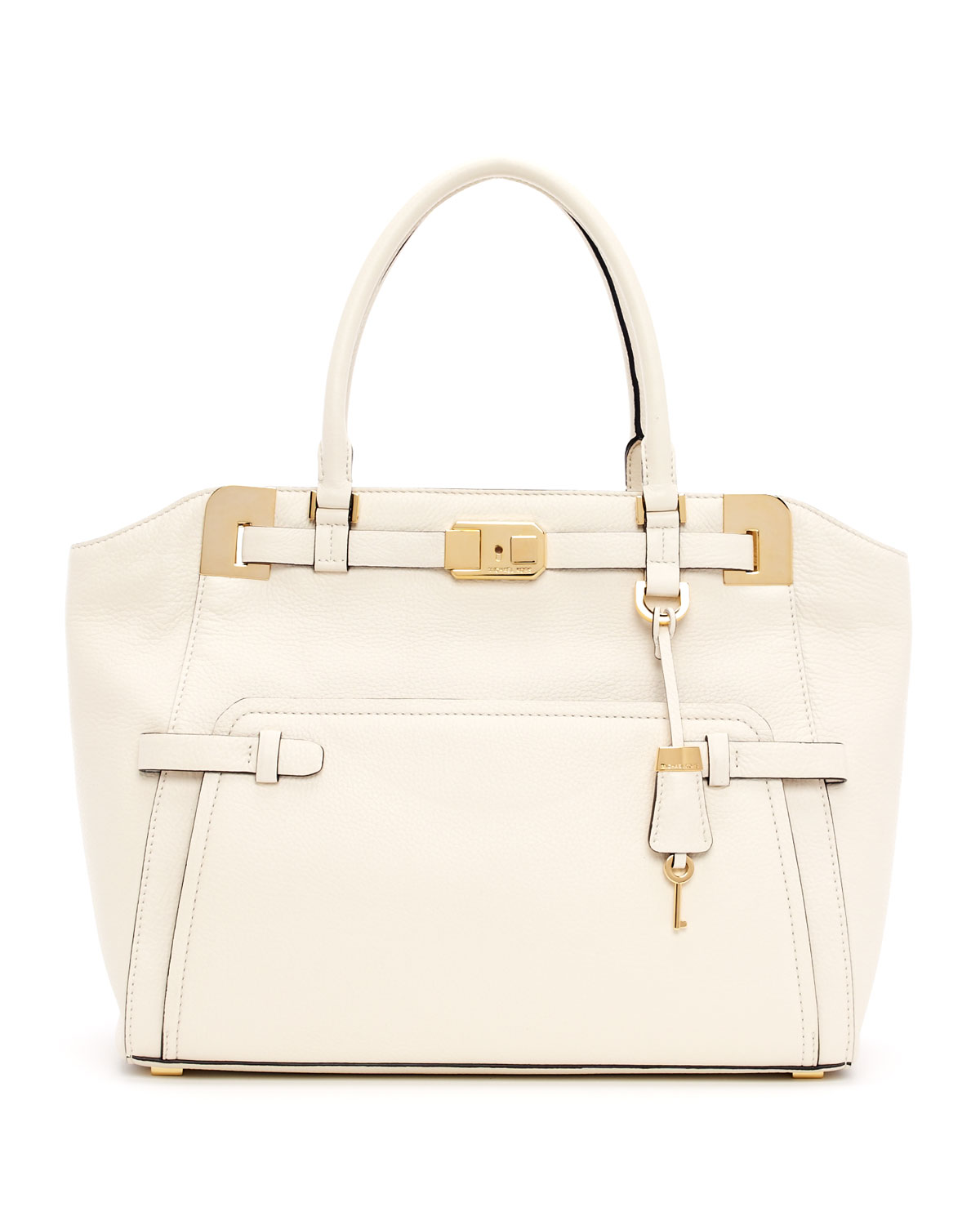 lyst michael kors blake large pebbled leather satchel bag in natural rh lyst com
