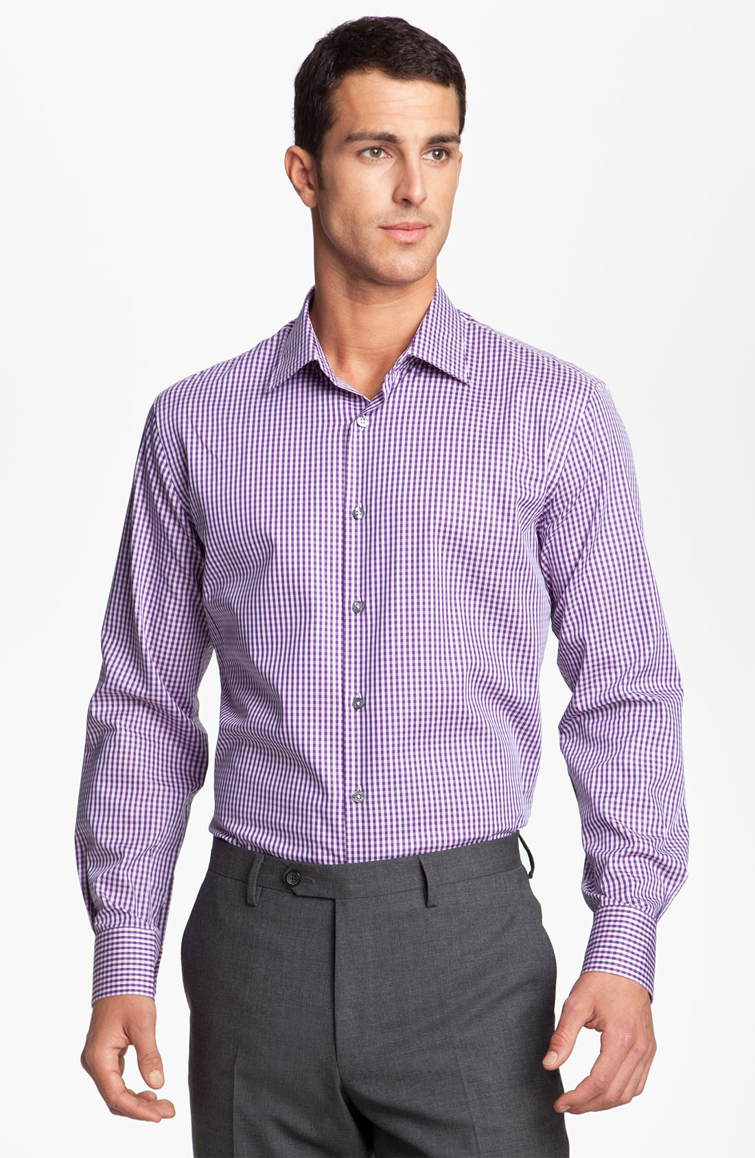 Paul smith gingham dress shirt in purple for men violet for Men s purple gingham shirt