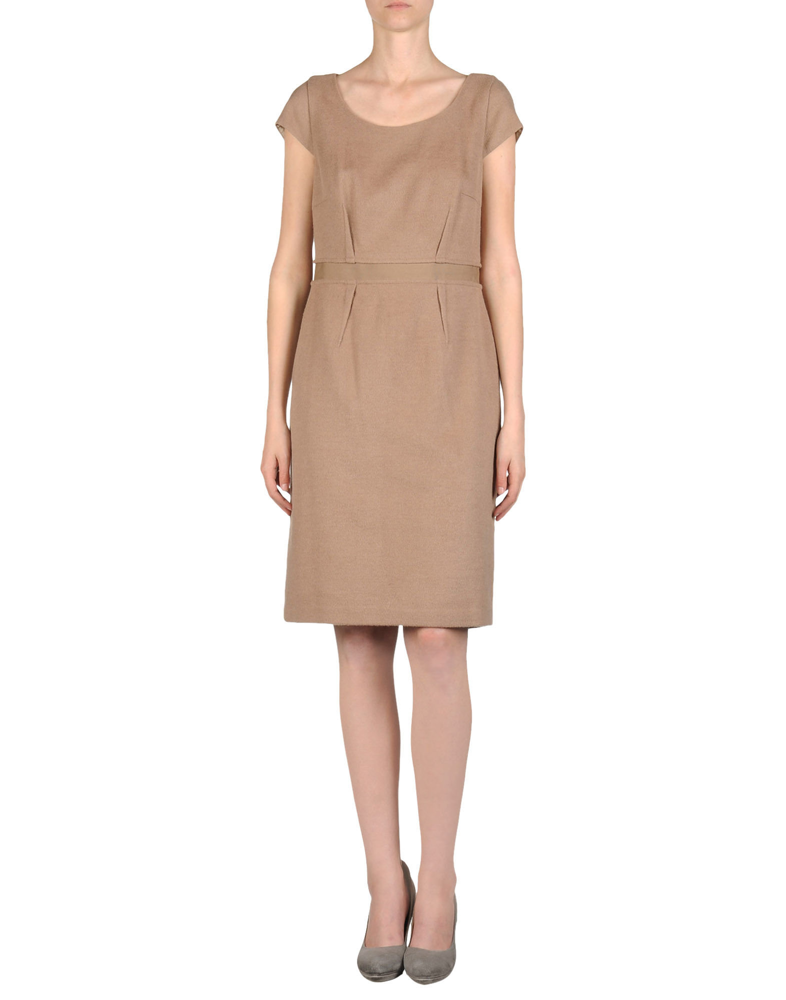 steffen schraut short dress in beige camel lyst. Black Bedroom Furniture Sets. Home Design Ideas