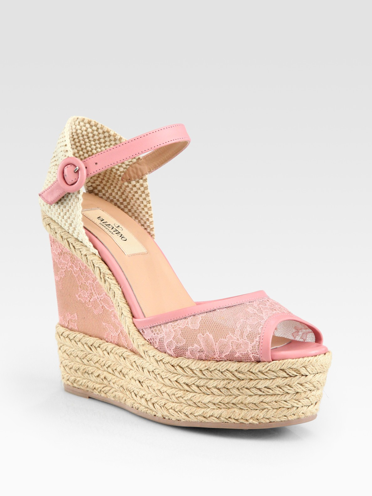 Lyst Valentino Glamorous Lace Leather Espadrille Wedge
