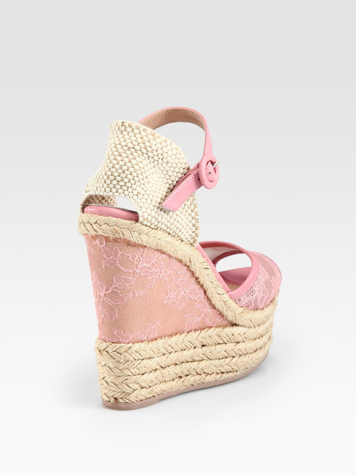 Valentino Glamorous Lace Leather Espadrille Wedge Sandals