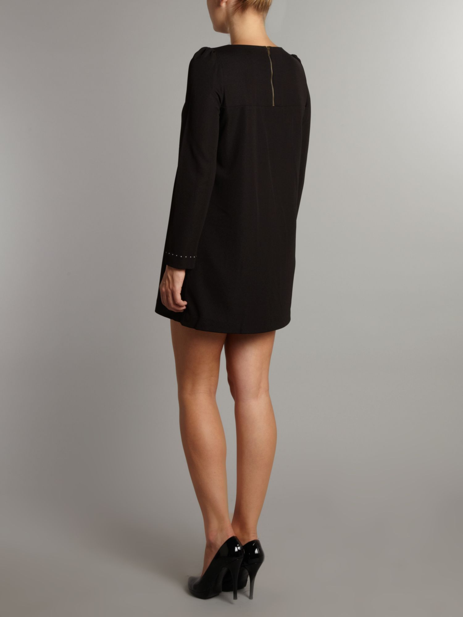 Almost famous Long Sleeve Tunic Dress in Black - Lyst