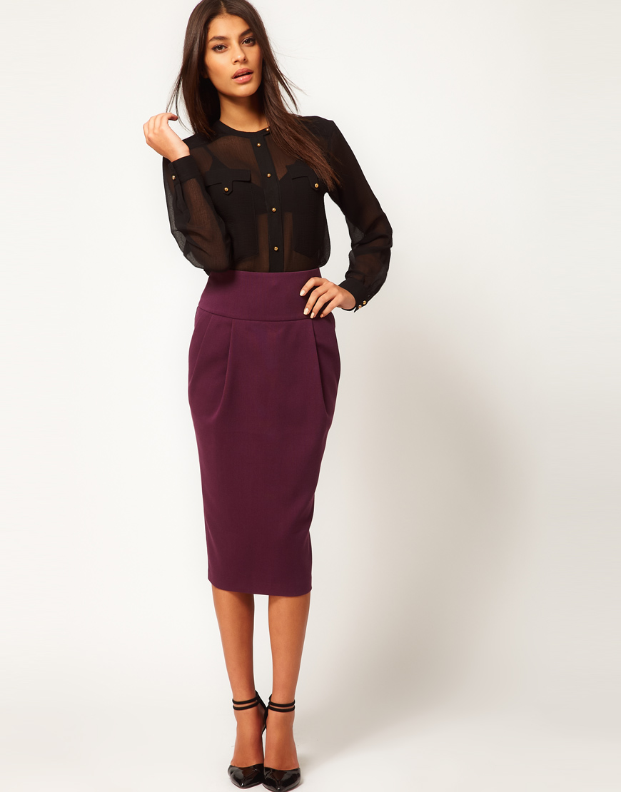 asos collection asos longline pencil skirt in purple lyst