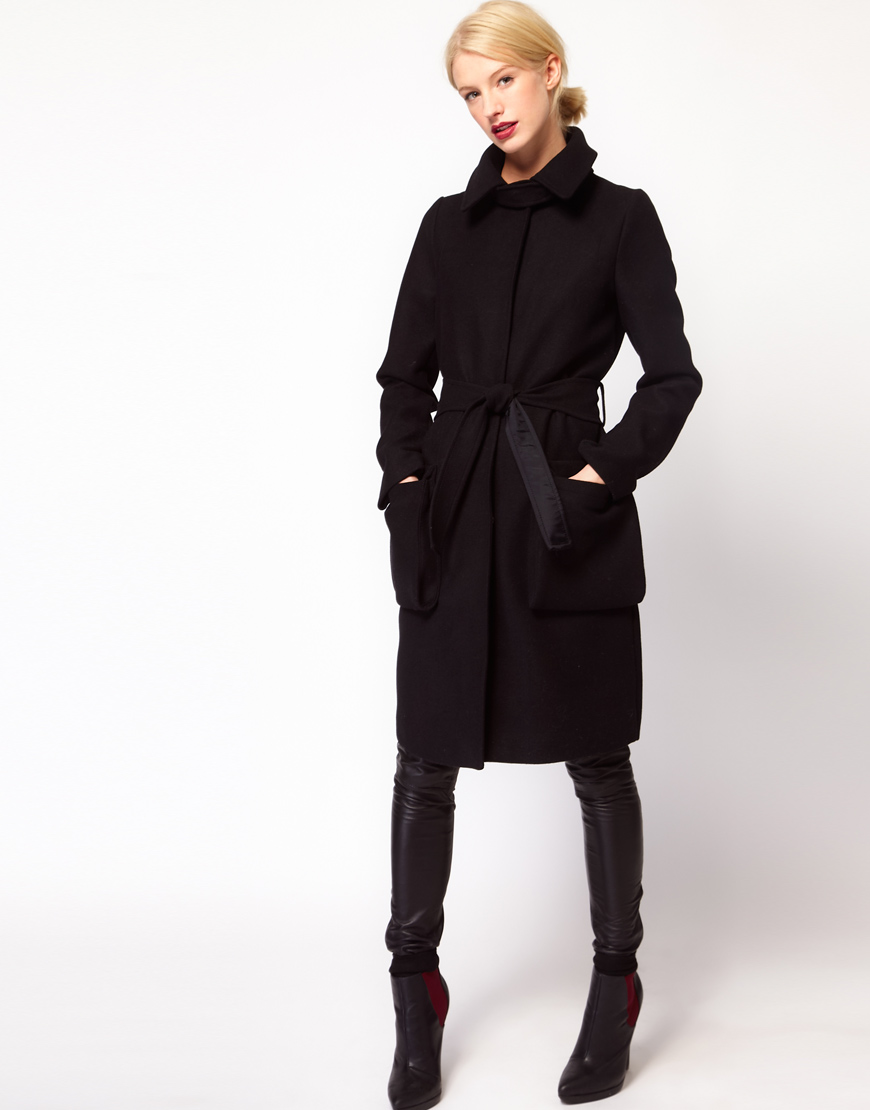 Asos collection Asos Oversized Pocket Belted Coat in Black | Lyst