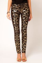 Asos Skinny Jeans in Metallic Baroque Print
