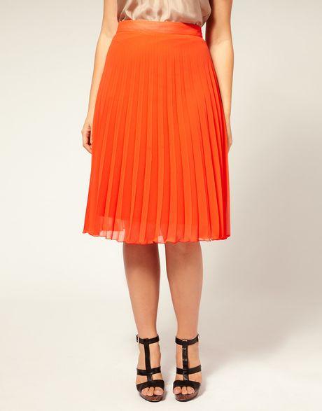 asos curve pleated midi skirt in orange lyst