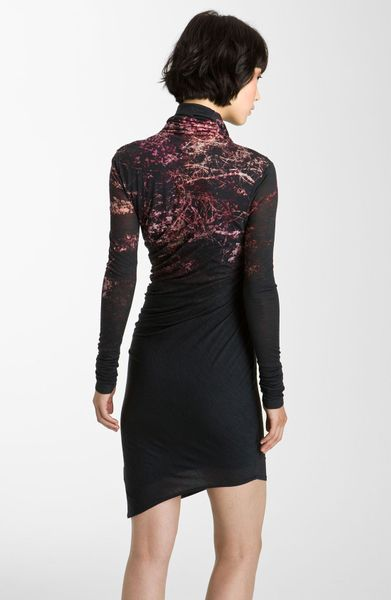 Helmut Lang Forest Print Jersey Dress In Multicolor