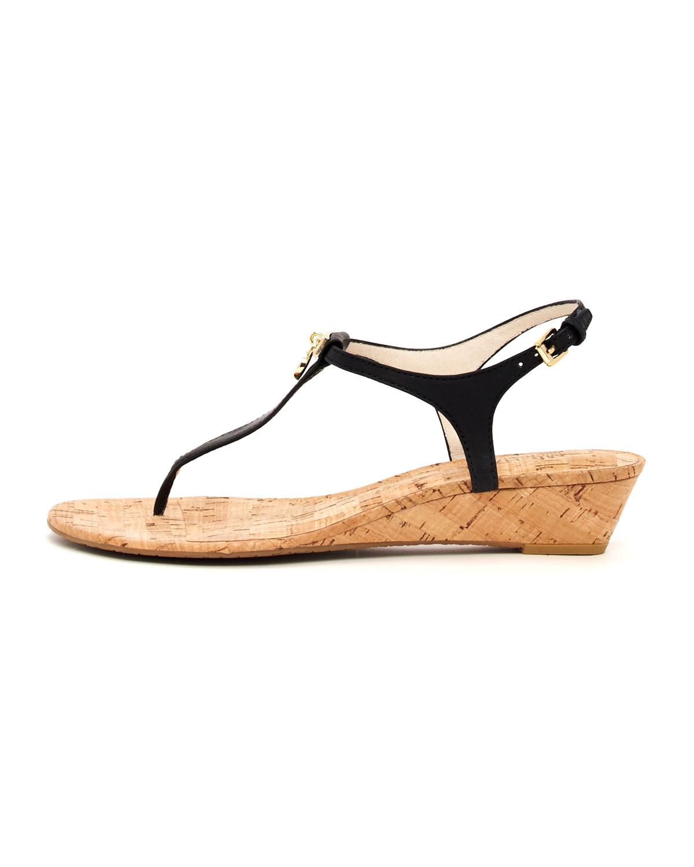 Michael Kors Hamilton Cork Thong Sandal In Black Lyst