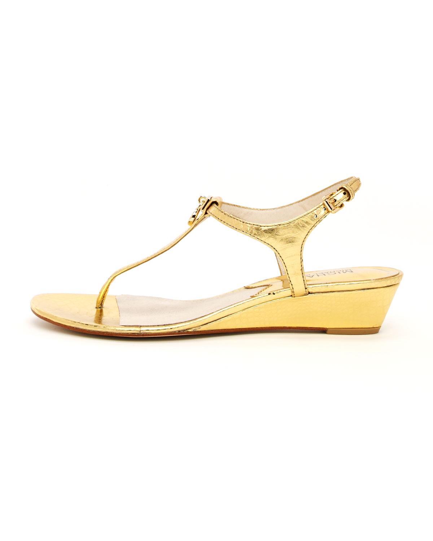 Lyst Michael Kors Hamilton Metallic Thong Sandal In Metallic