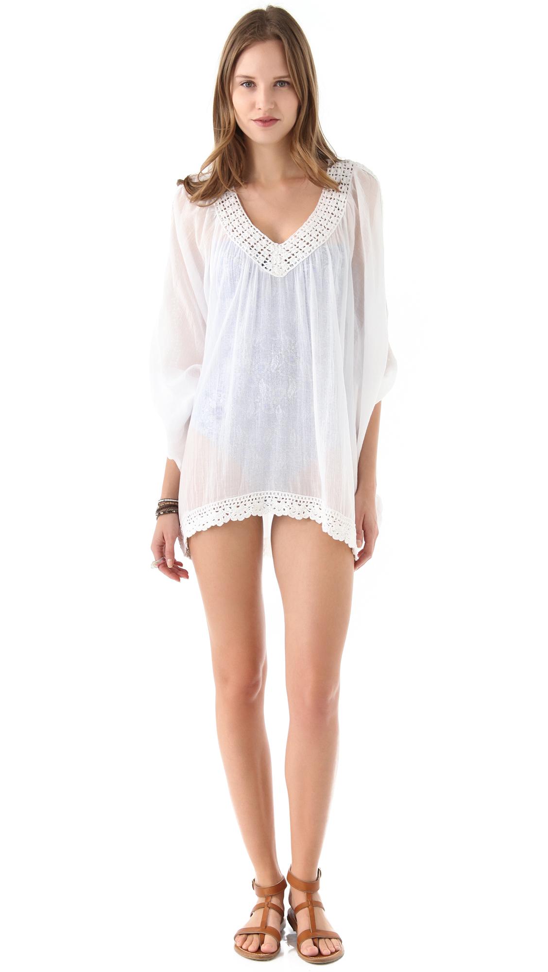 Ondademar Crochet Cover Up Dress In White