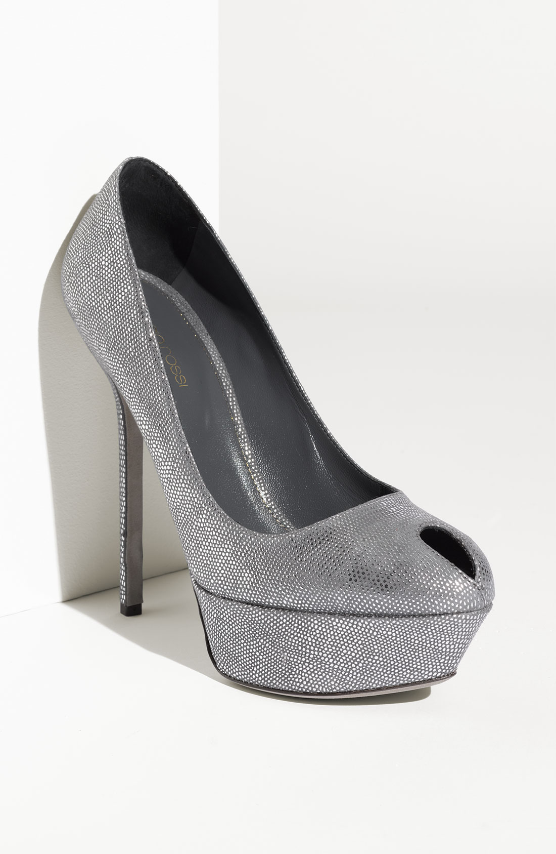 sergio rossi cachet metallic suede pumps in silver lyst. Black Bedroom Furniture Sets. Home Design Ideas