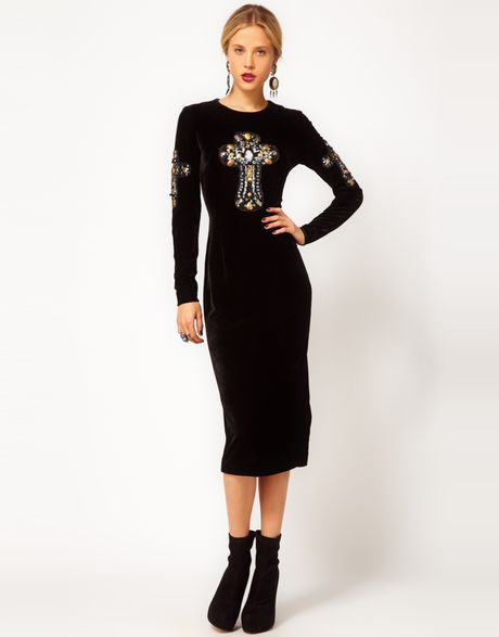 Asos Velvet Midi Dress with Embellished Cross in Black - Lyst