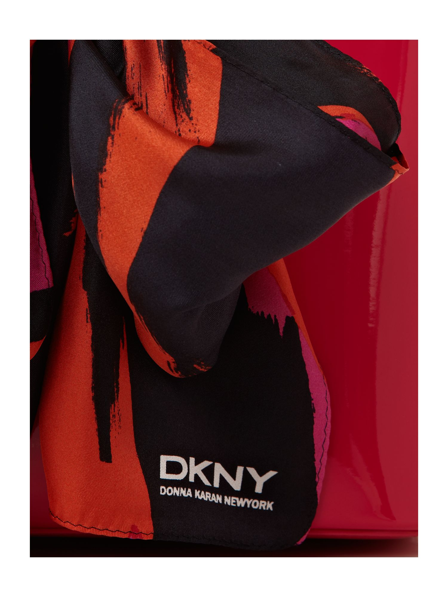 DKNY Patent Scarf Small Tote Bag in Pink