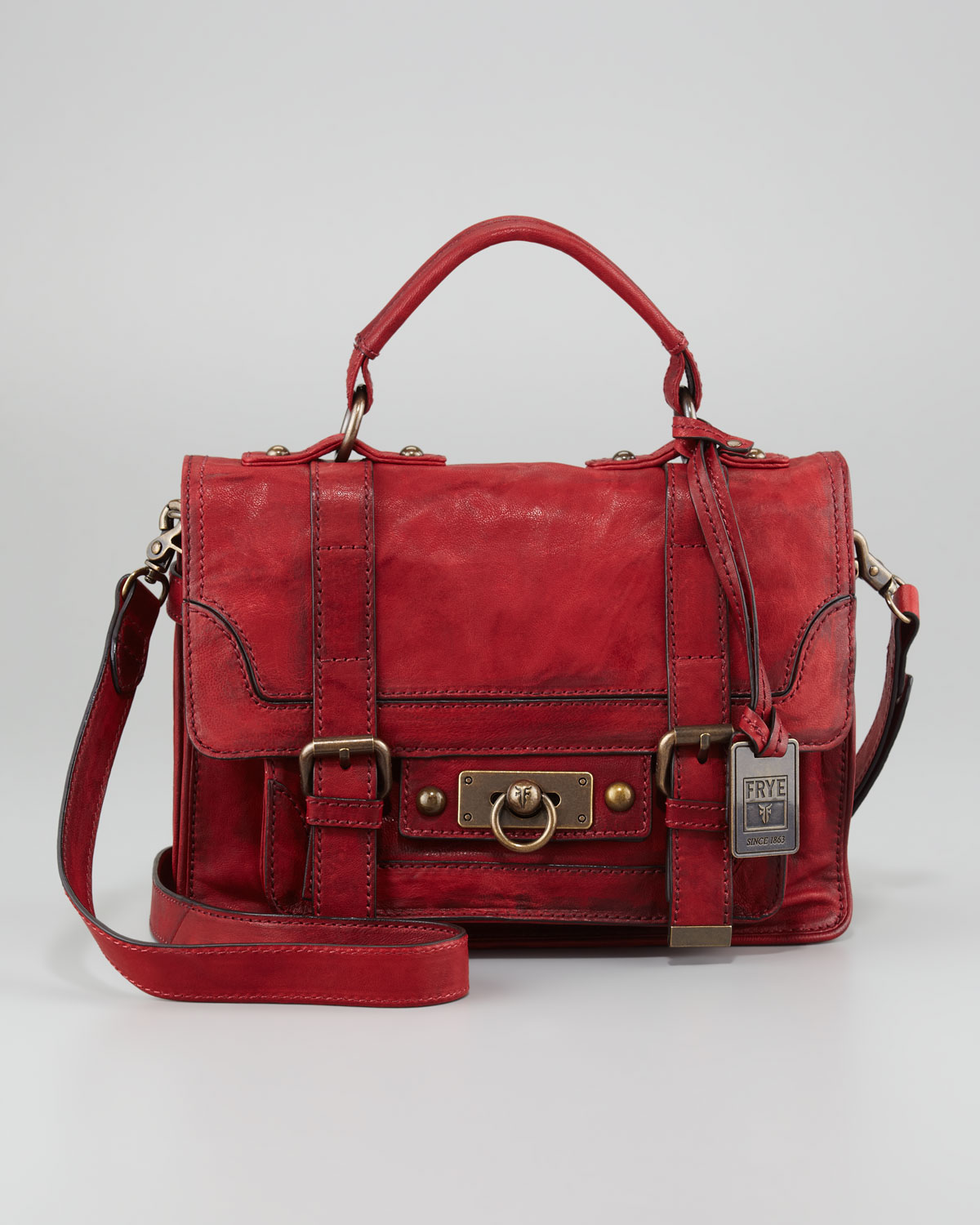 Frye Cameron Small Satchel Bag in Red | Lyst