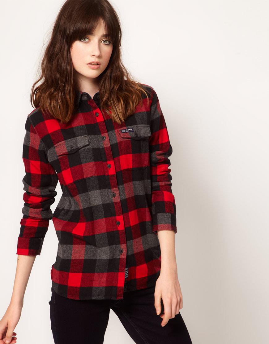 Penfield flannel check slim fit boyfriend shirt in blue for Women s slim fit flannel shirt